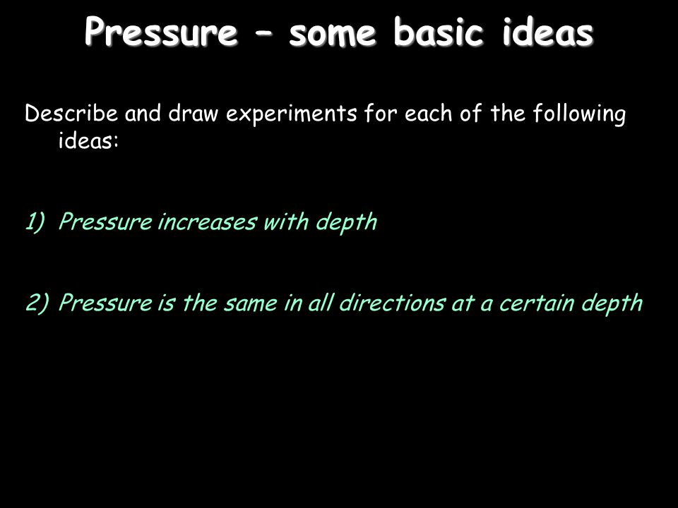 Pressure – some basic ideas