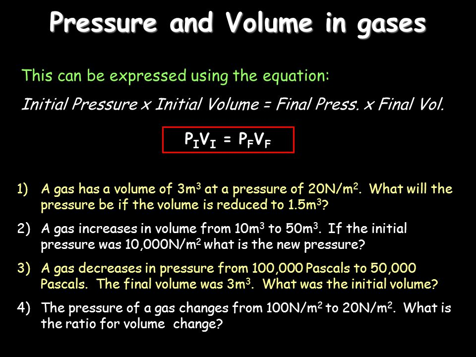 Pressure and Volume in gases