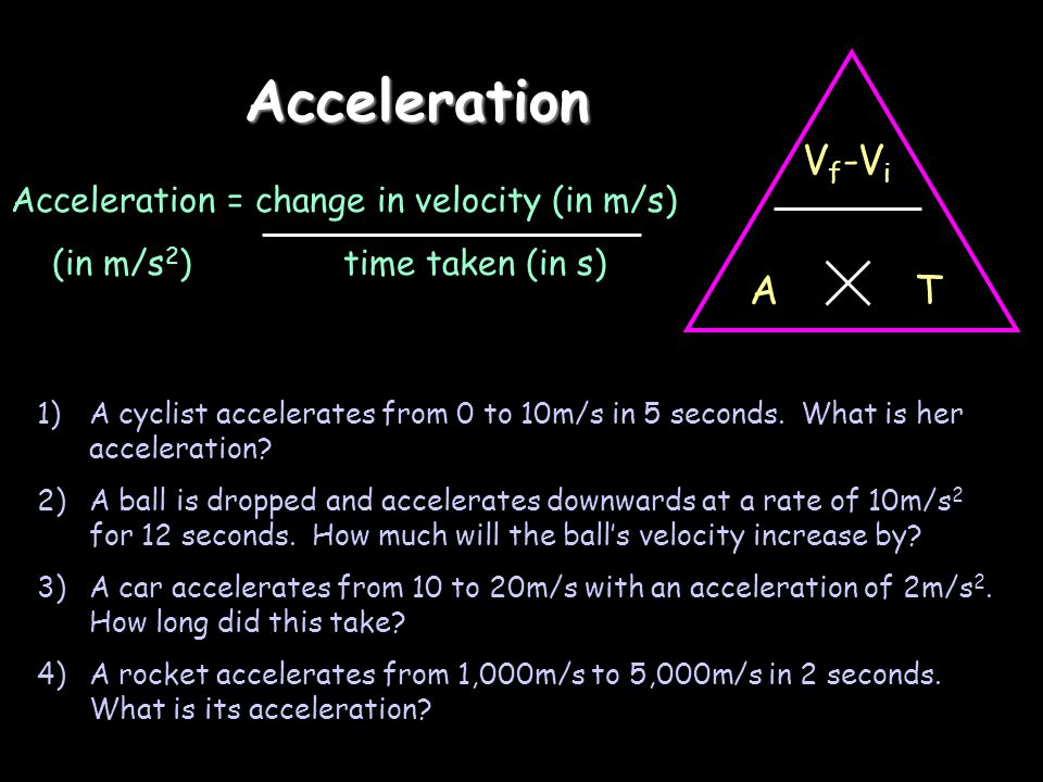 Acceleration Vf-Vi T A Acceleration = change in velocity (in m/s)