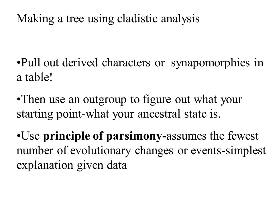 Making a tree using cladistic analysis