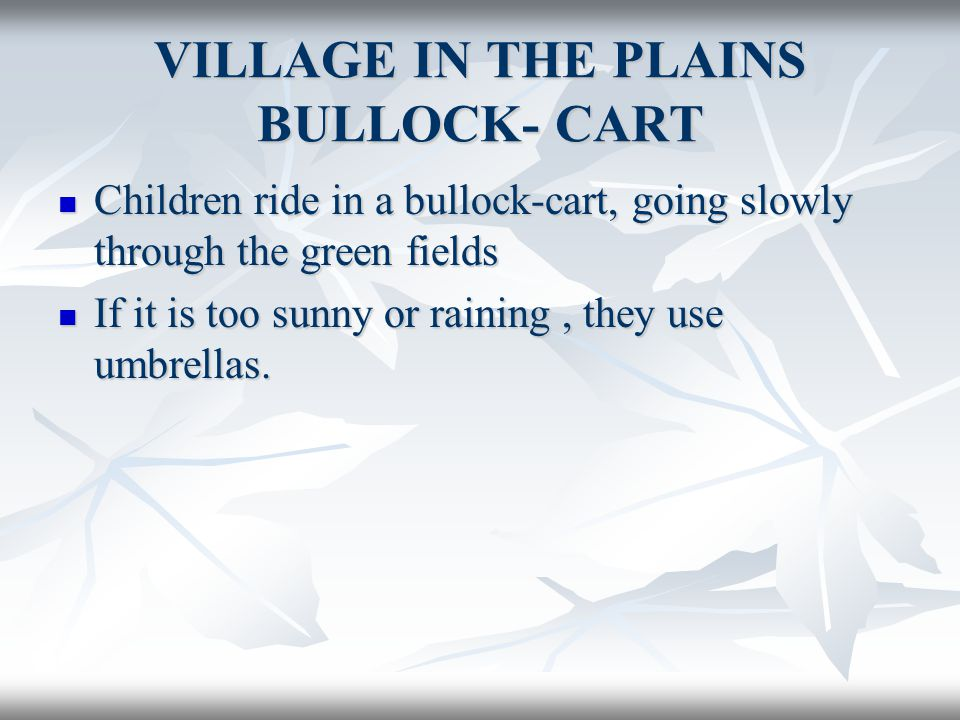 VILLAGE IN THE PLAINS BULLOCK- CART