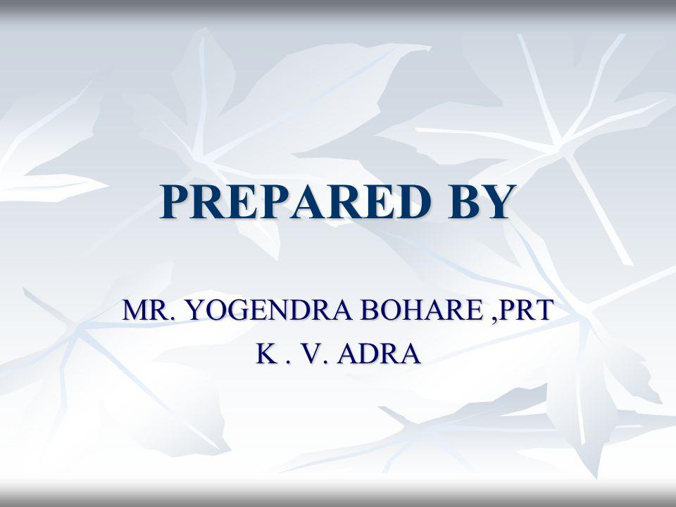 MR. YOGENDRA BOHARE ,PRT K . V. ADRA