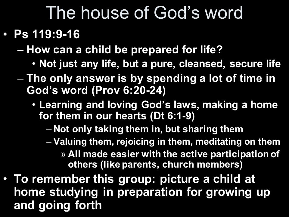 The house of God's word Ps 119:9-16