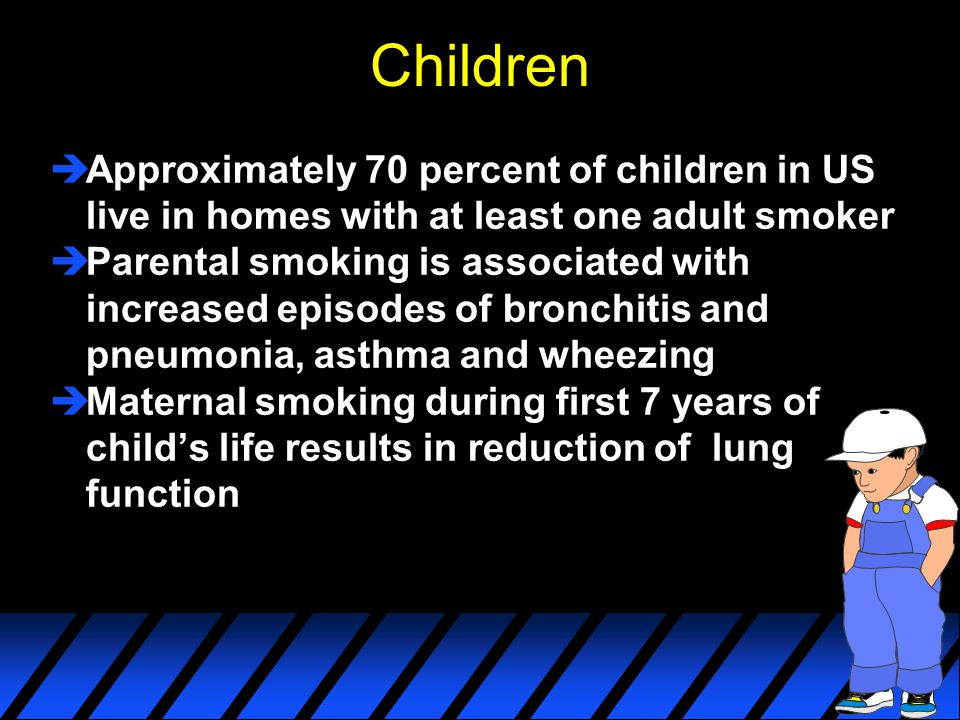 Children Approximately 70 percent of children in US live in homes with at least one adult smoker.