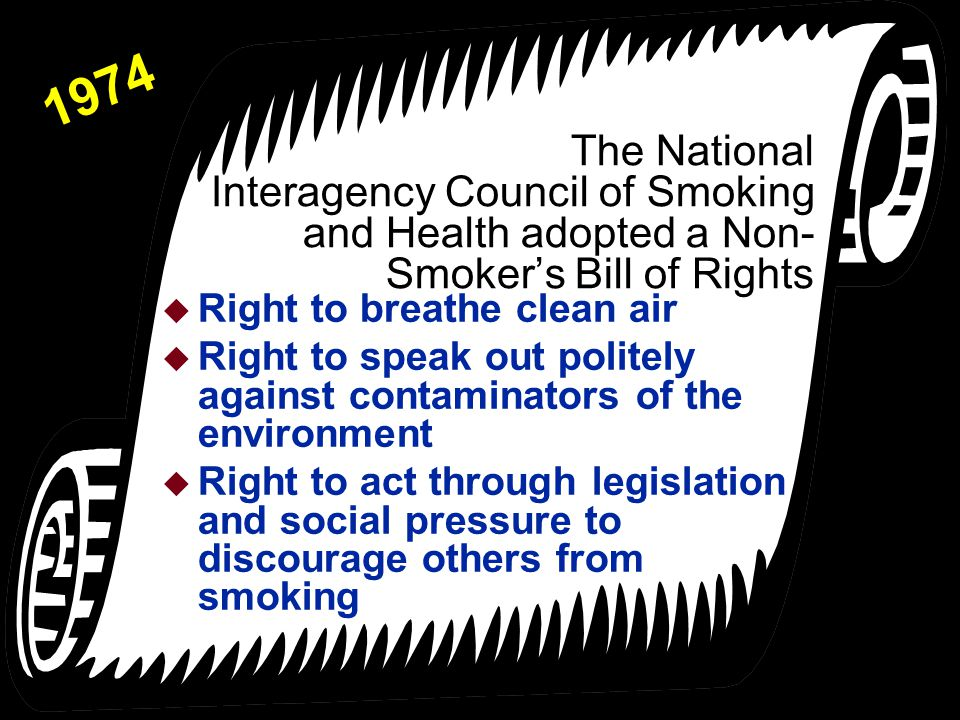 1974 The National Interagency Council of Smoking and Health adopted a Non-Smoker's Bill of Rights. Right to breathe clean air.