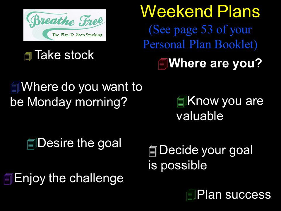 Weekend Plans (See page 53 of your Personal Plan Booklet)