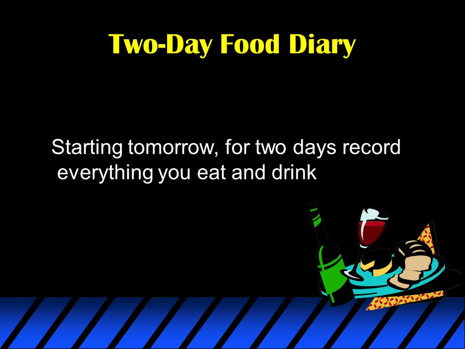 Two-Day Food Diary Starting tomorrow, for two days record everything you eat and drink