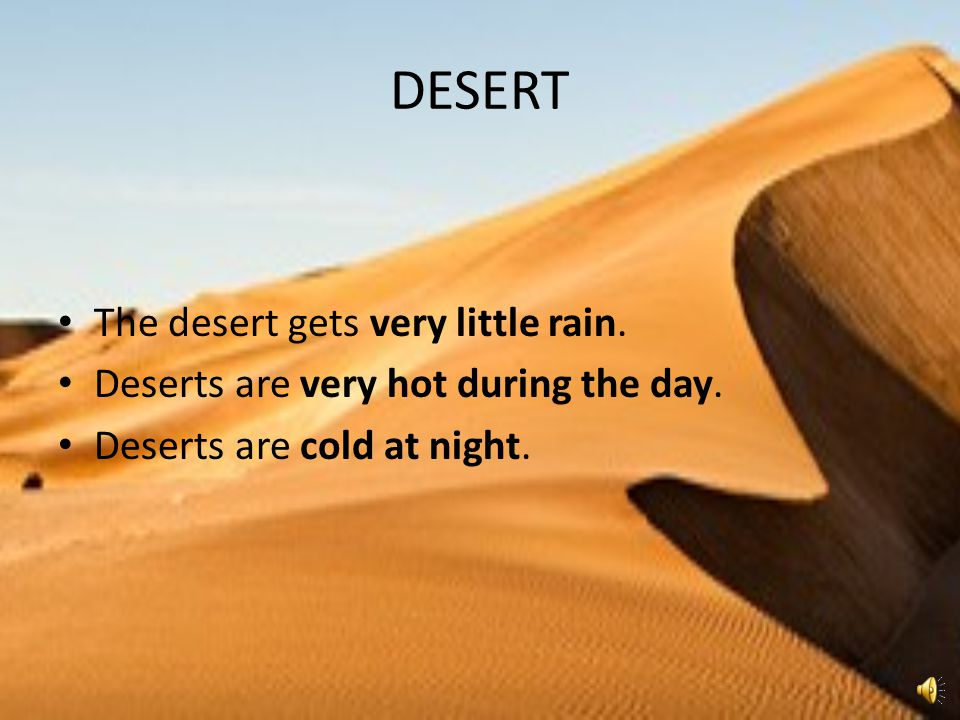 DESERT The desert gets very little rain.