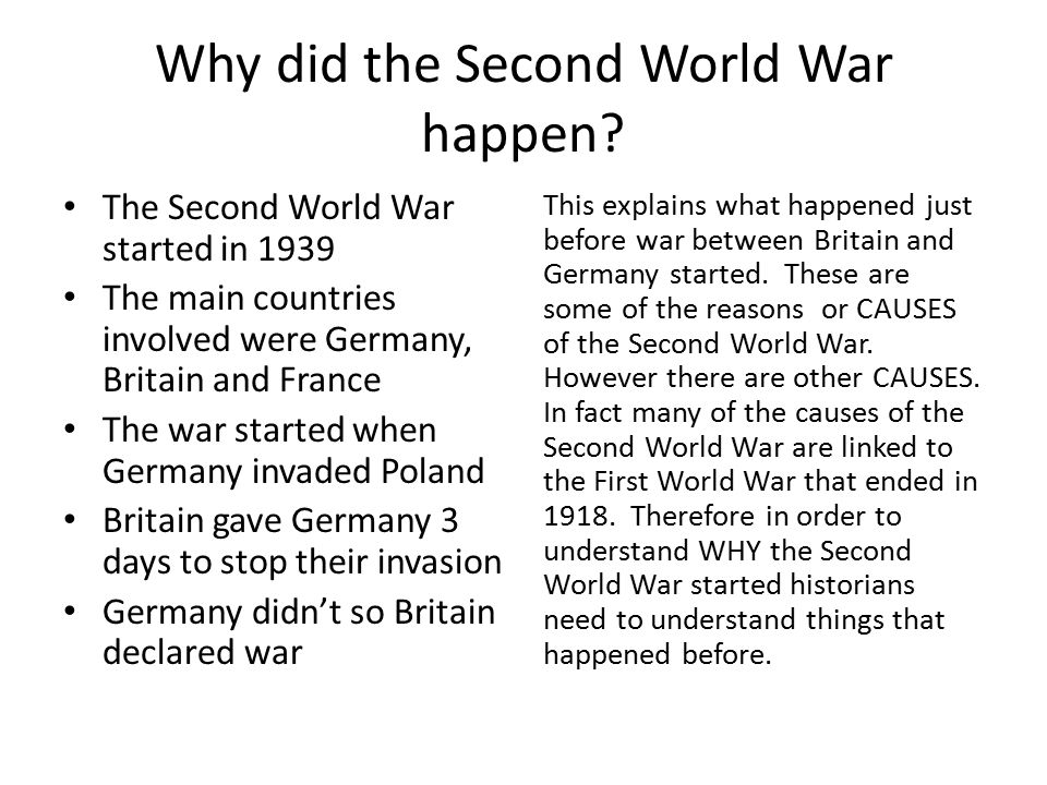 Why did the Second World War happen