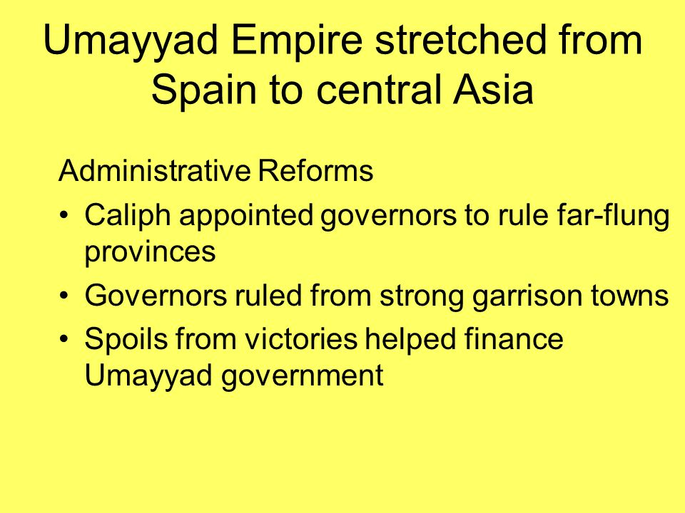 Umayyad Empire stretched from Spain to central Asia
