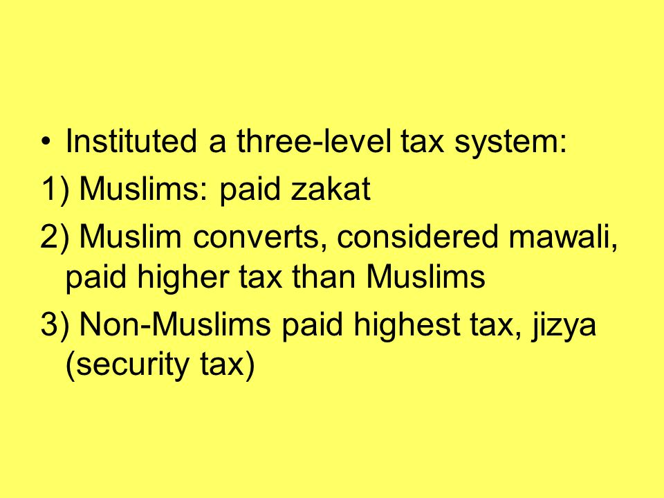Instituted a three-level tax system: