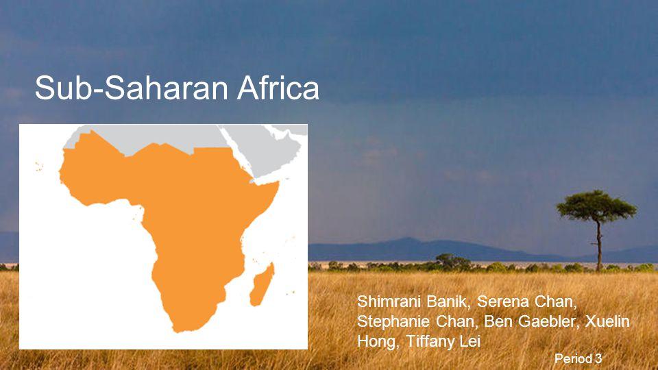 Sub-Saharan Africa Shimrani Banik, Serena Chan, Stephanie Chan, Ben Gaebler, Xuelin Hong, Tiffany Lei.
