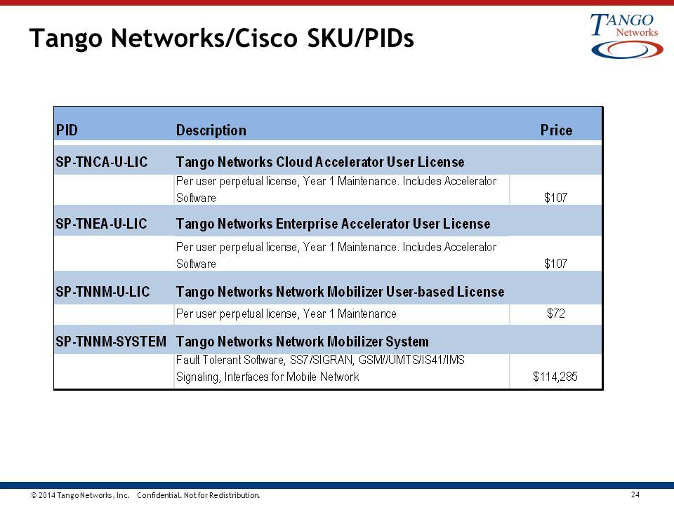 Tango Networks/Cisco SKU/PIDs
