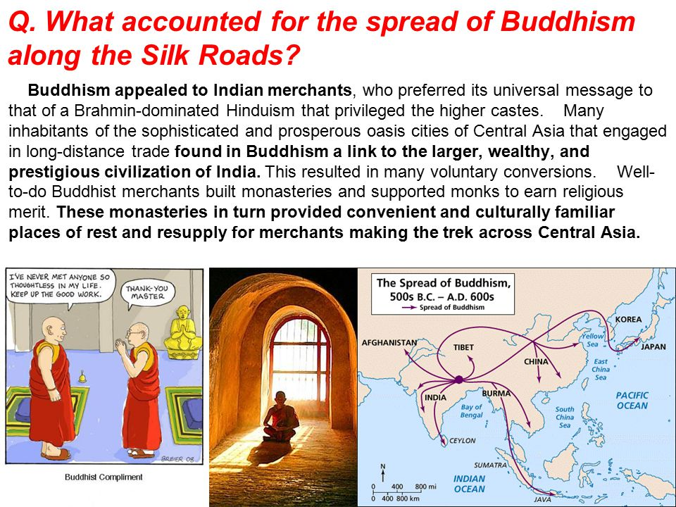 Q. What accounted for the spread of Buddhism along the Silk Roads