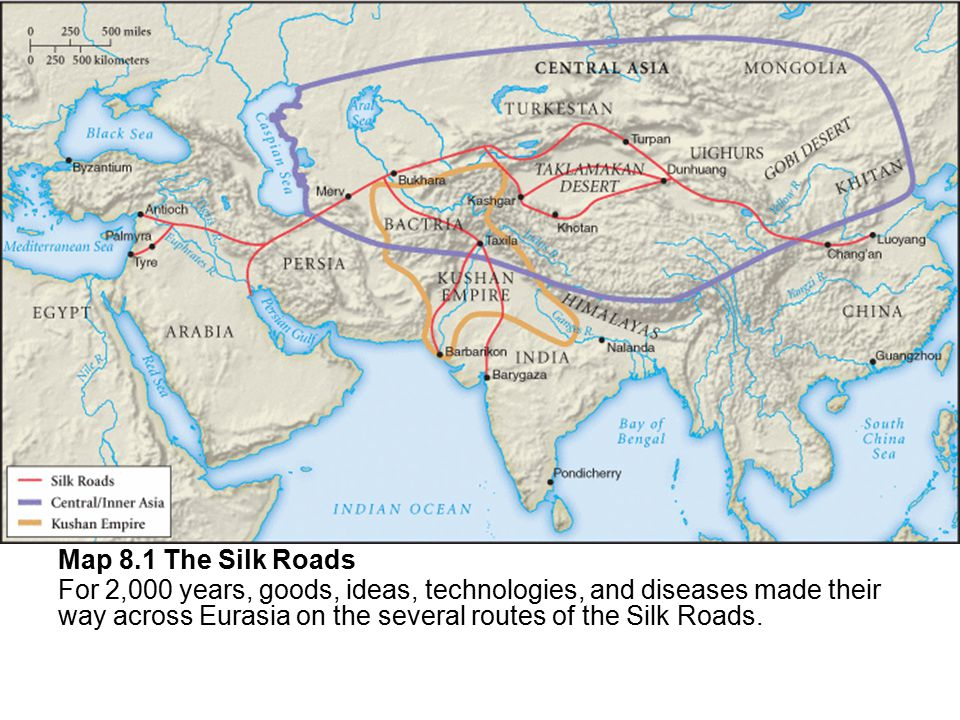 Map 8.1 The Silk Roads