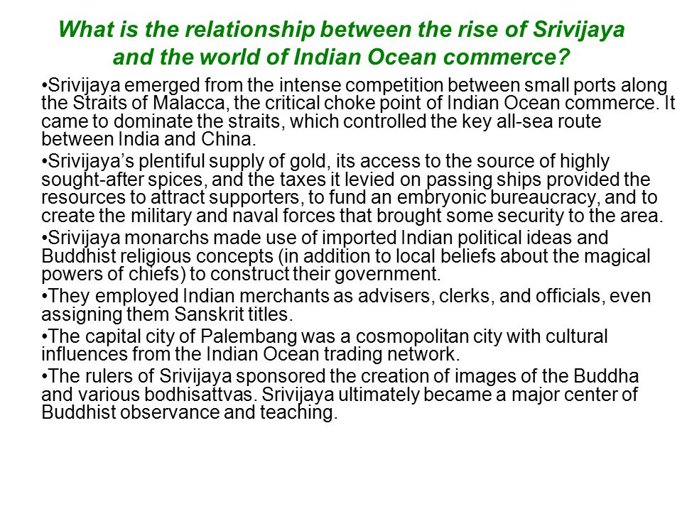 What is the relationship between the rise of Srivijaya and the world of Indian Ocean commerce