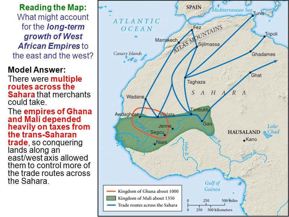 Reading the Map: What might account for the long-term growth of West African Empires to the east and the west