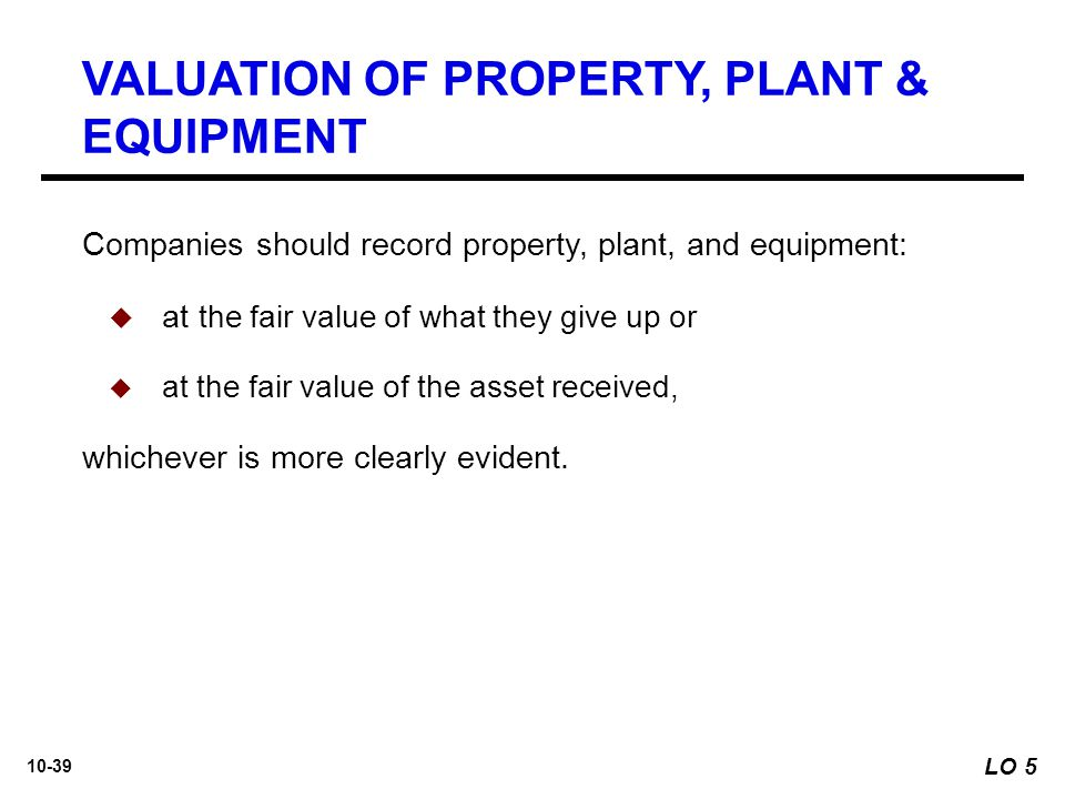 VALUATION OF PROPERTY, PLANT & EQUIPMENT
