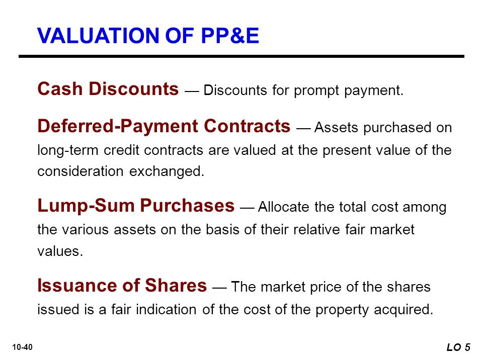VALUATION OF PP&E Cash Discounts — Discounts for prompt payment.