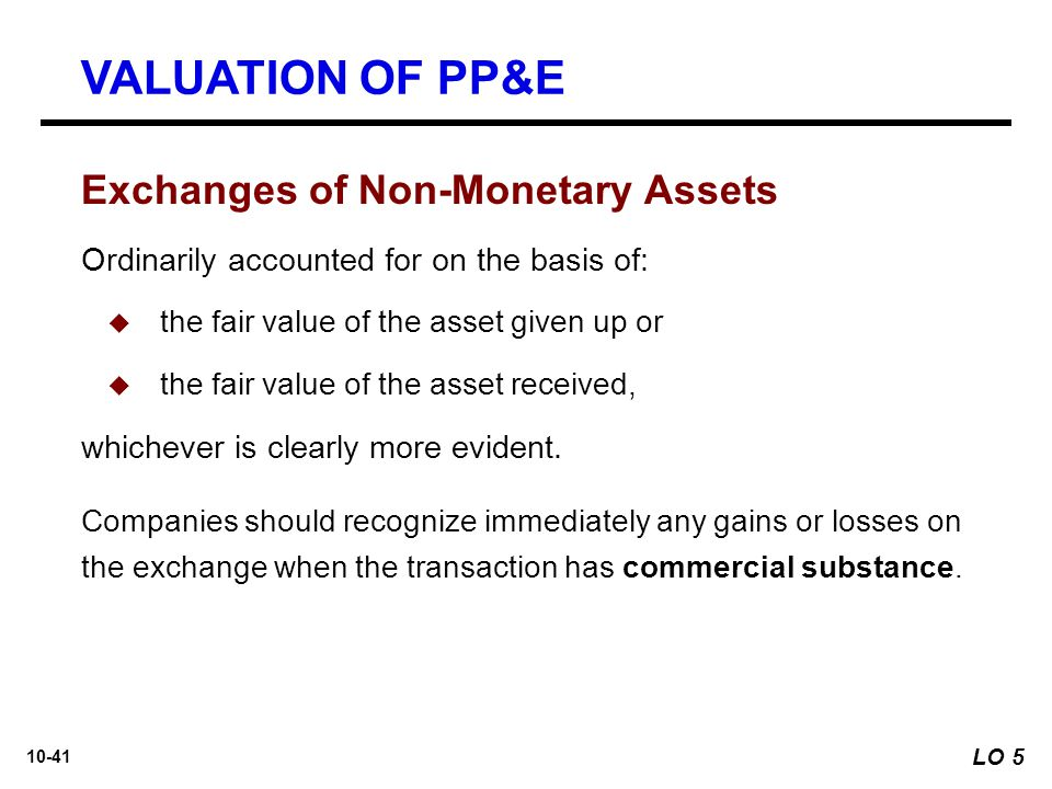 VALUATION OF PP&E Exchanges of Non-Monetary Assets