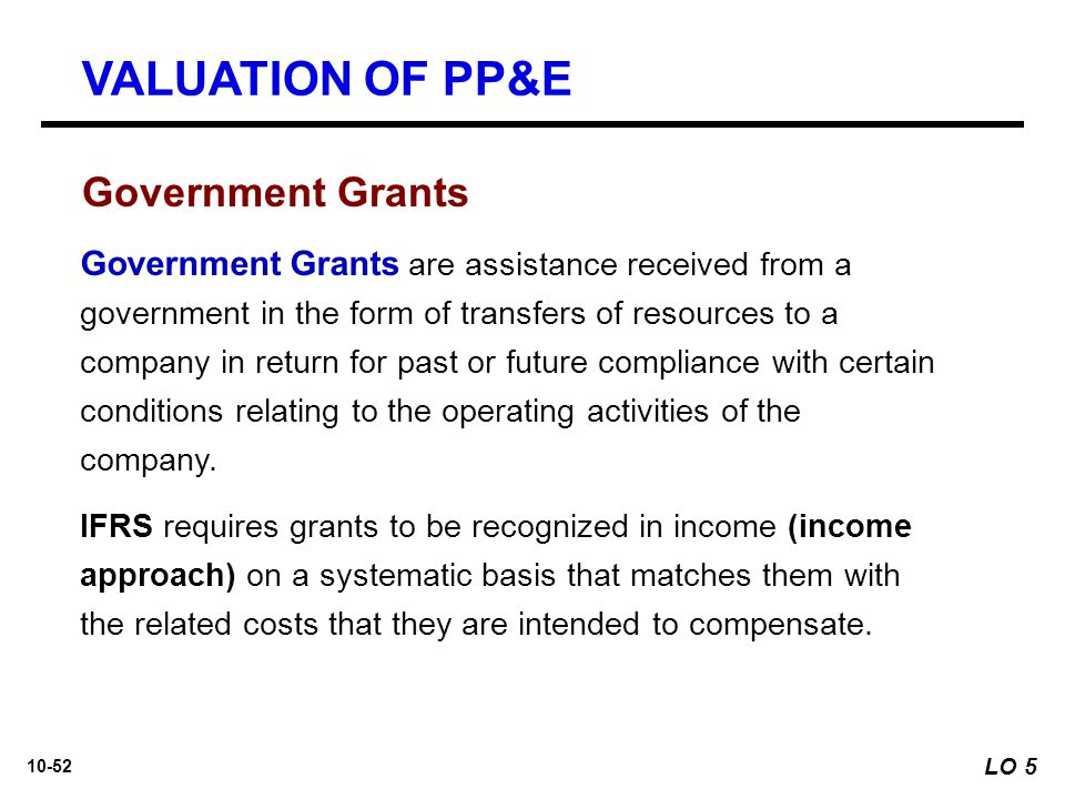 VALUATION OF PP&E Government Grants