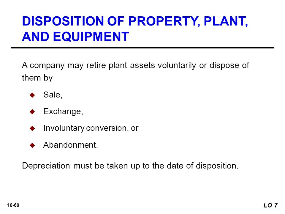 DISPOSITION OF PROPERTY, PLANT, AND EQUIPMENT