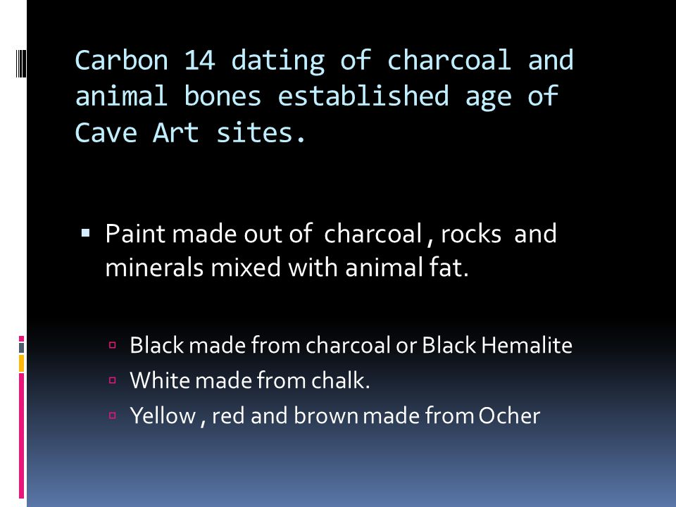 Carbon 14 dating of charcoal and animal bones established age of Cave Art sites.