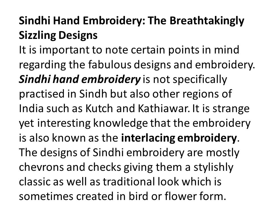Sindhi Hand Embroidery: The Breathtakingly Sizzling Designs