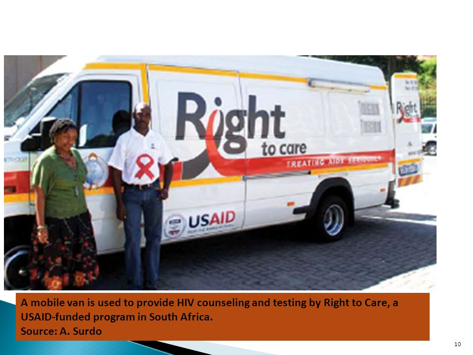 A mobile van is used to provide HIV counseling and testing by Right to Care, a USAID-funded program in South Africa.