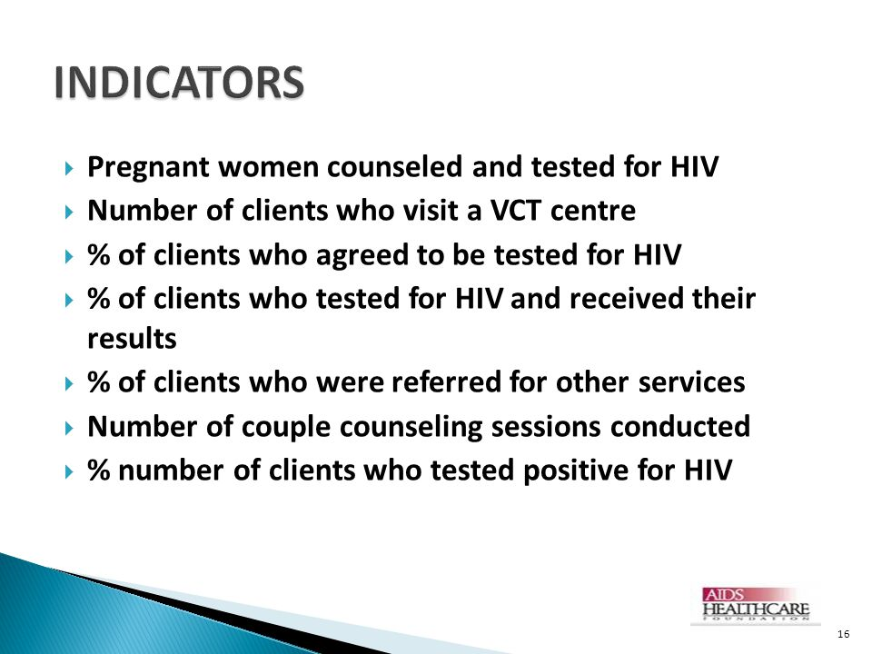 INDICATORS Pregnant women counseled and tested for HIV