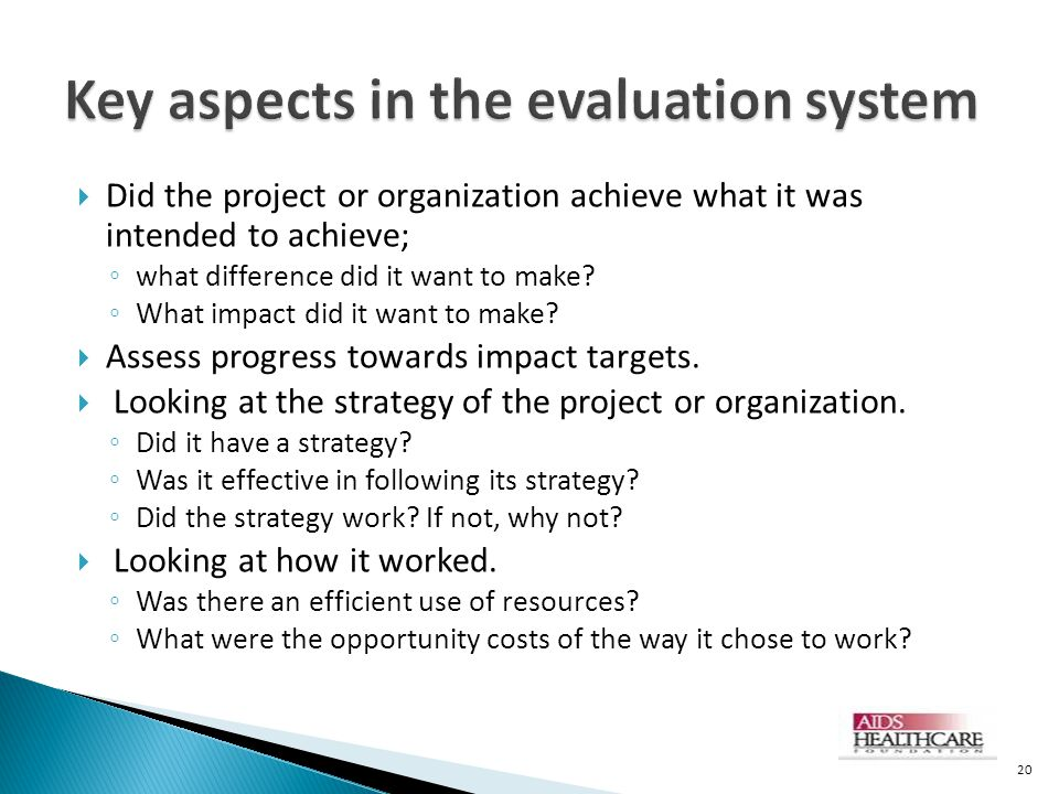 Key aspects in the evaluation system
