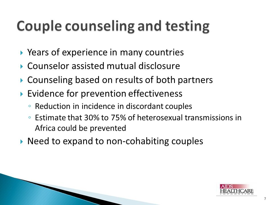 Couple counseling and testing