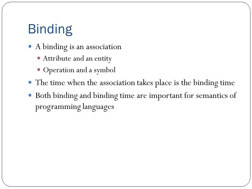 Binding A binding is an association