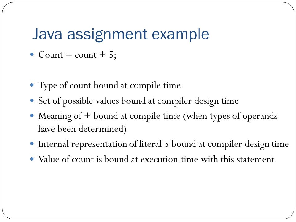 Java assignment example