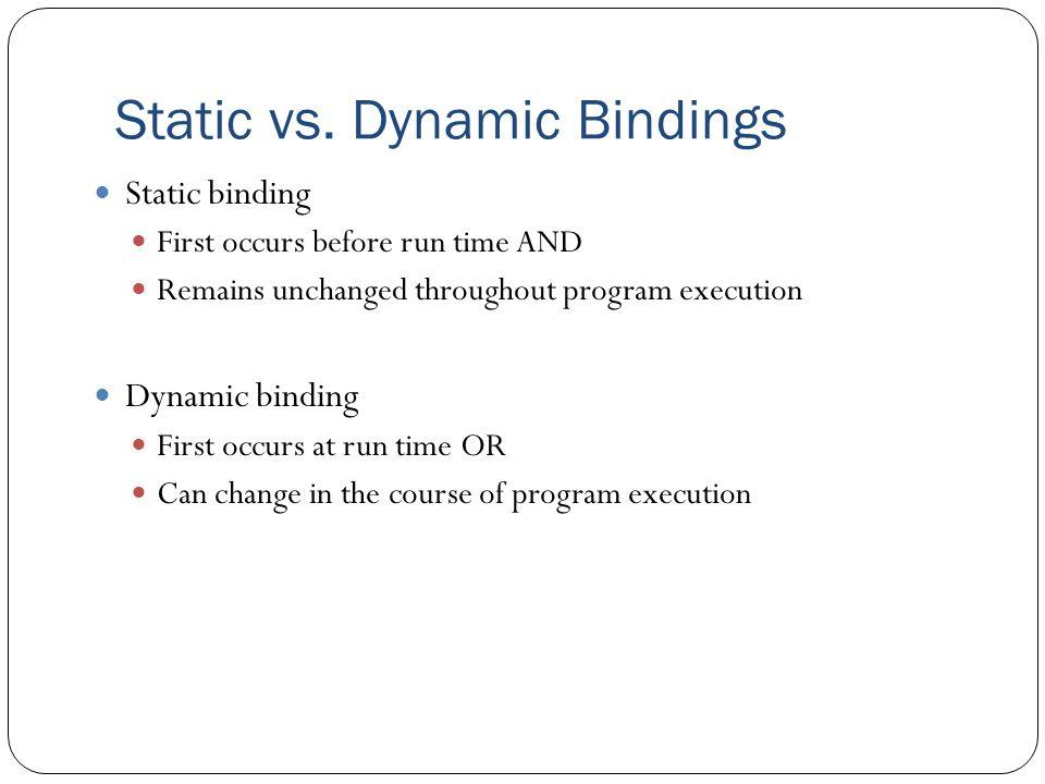Static vs. Dynamic Bindings