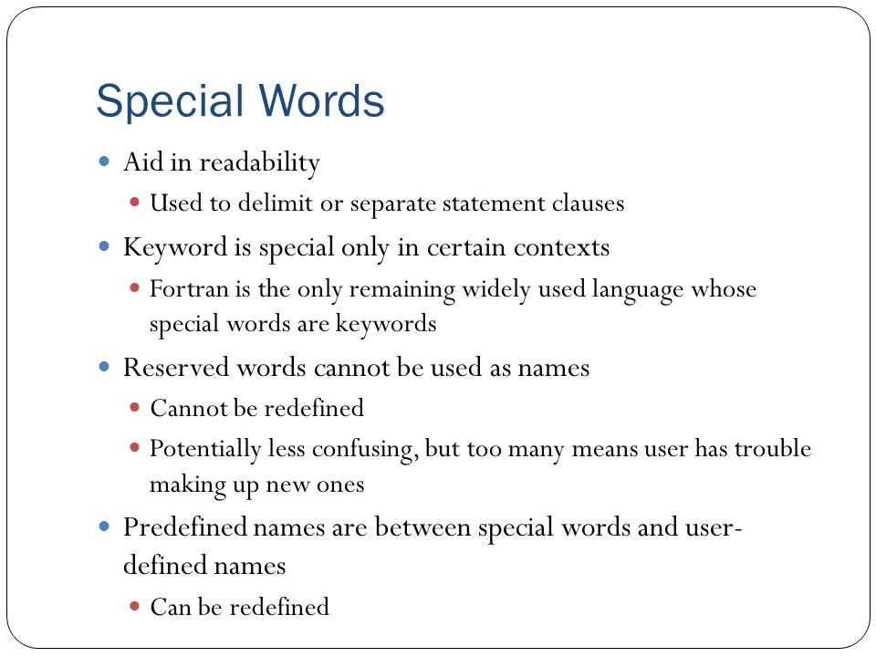 Special Words Aid in readability