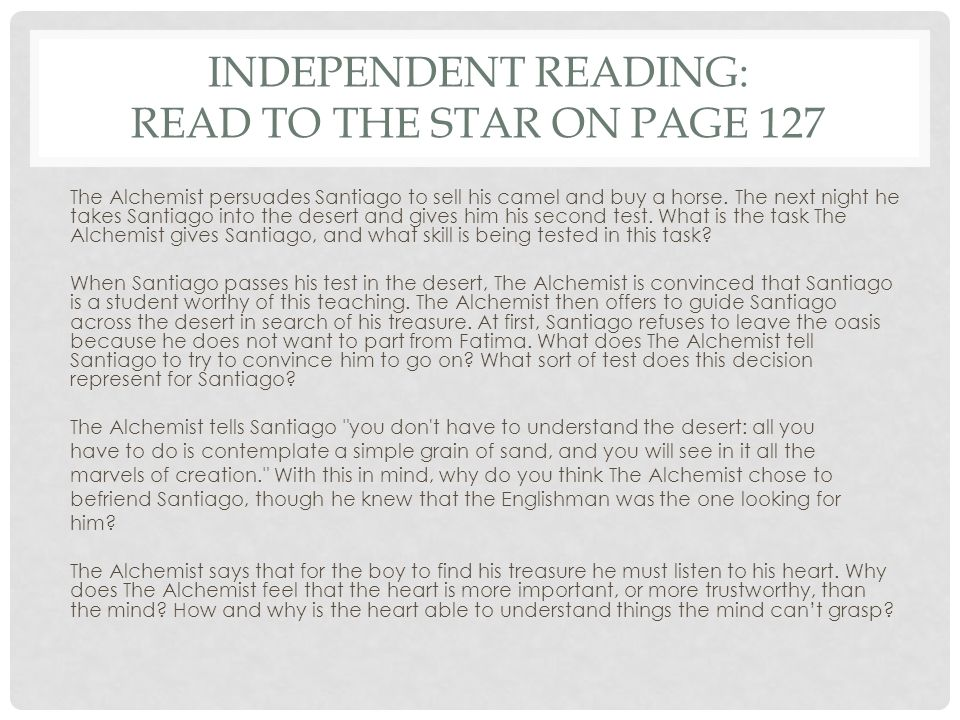 Independent Reading: Read to the Star on Page 127