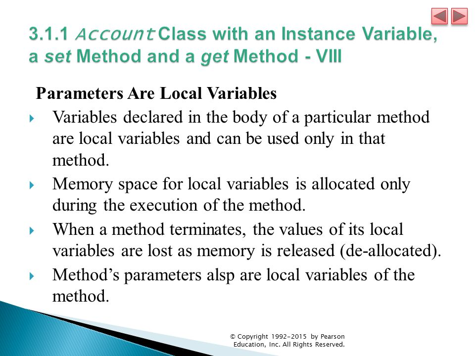 3.1.1 Account Class with an Instance Variable, a set Method and a get Method - VIII
