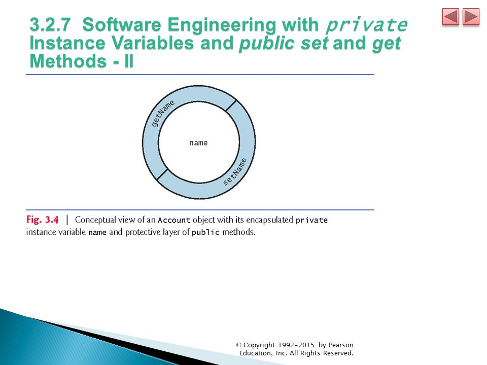 3.2.7 Software Engineering with private Instance Variables and public set and get Methods - II