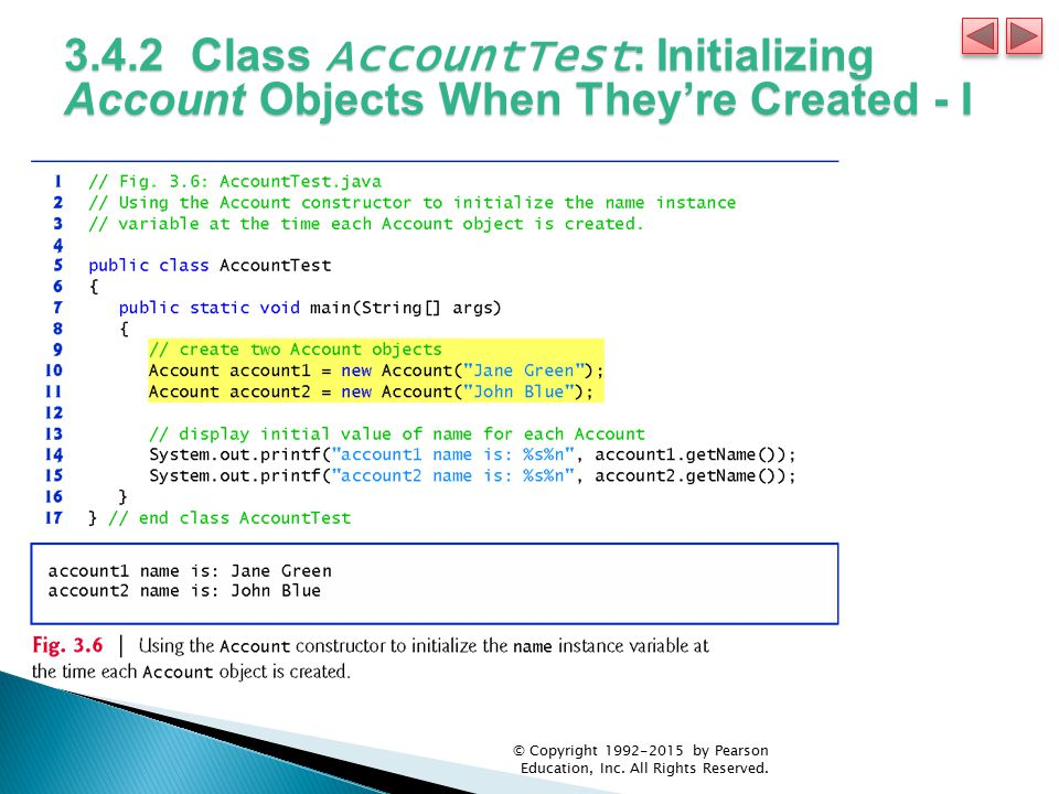 3.4.2 Class AccountTest: Initializing Account Objects When They're Created - I