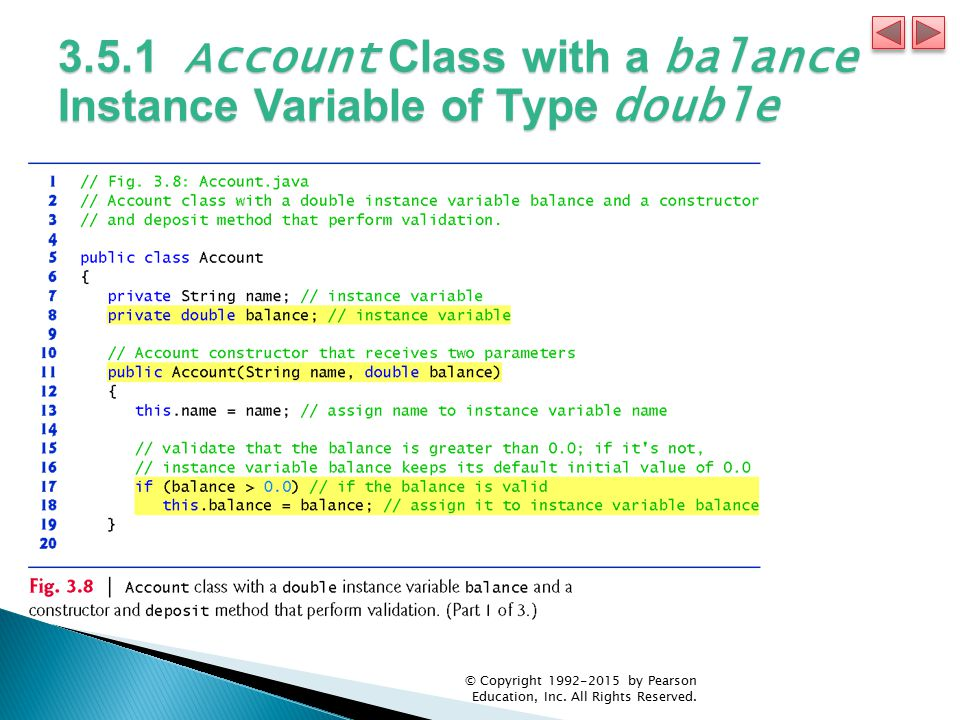 3.5.1 Account Class with a balance Instance Variable of Type double