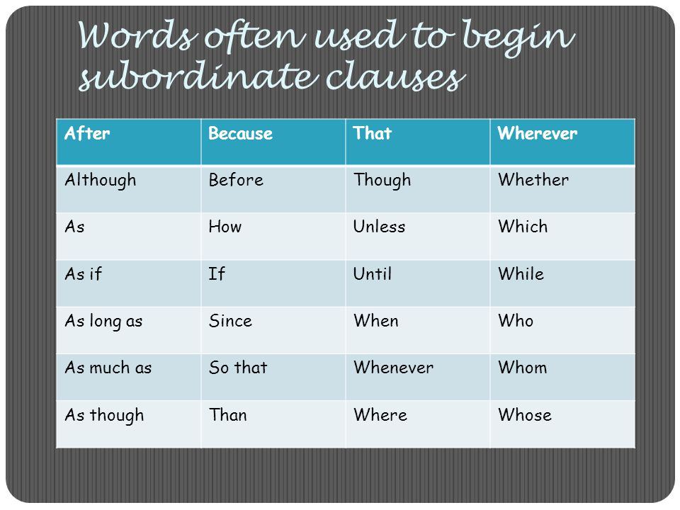 Words often used to begin subordinate clauses