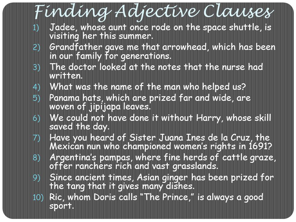 Finding Adjective Clauses