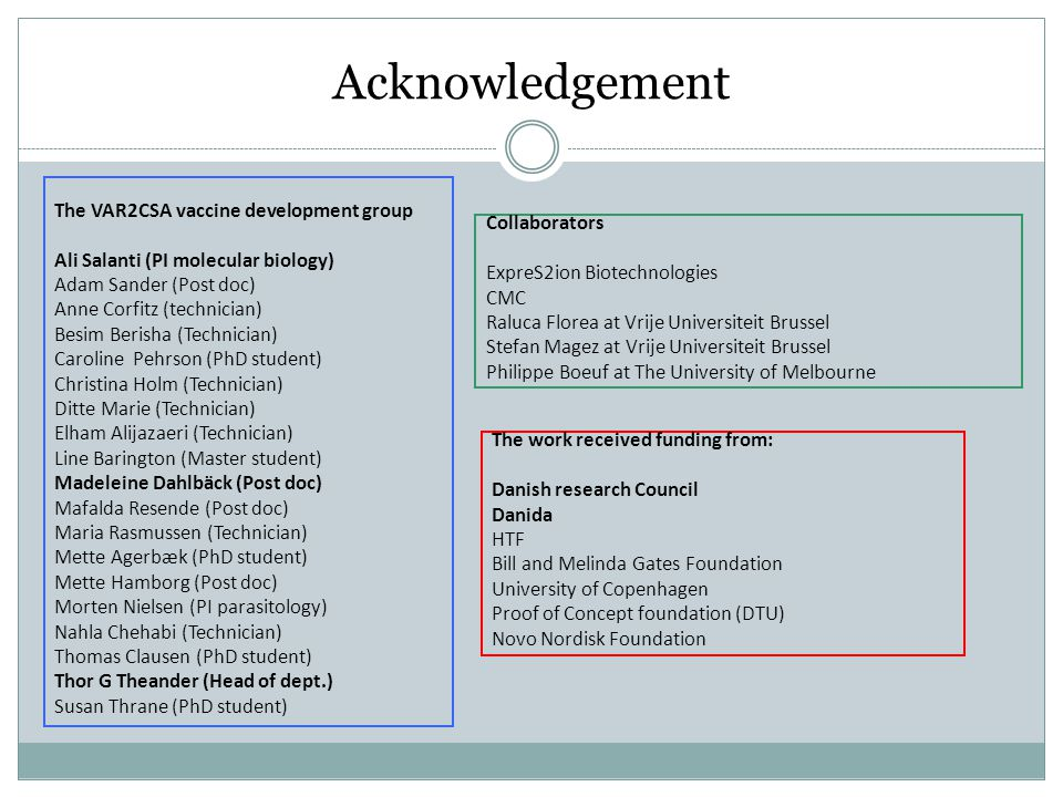 Acknowledgement The VAR2CSA vaccine development group