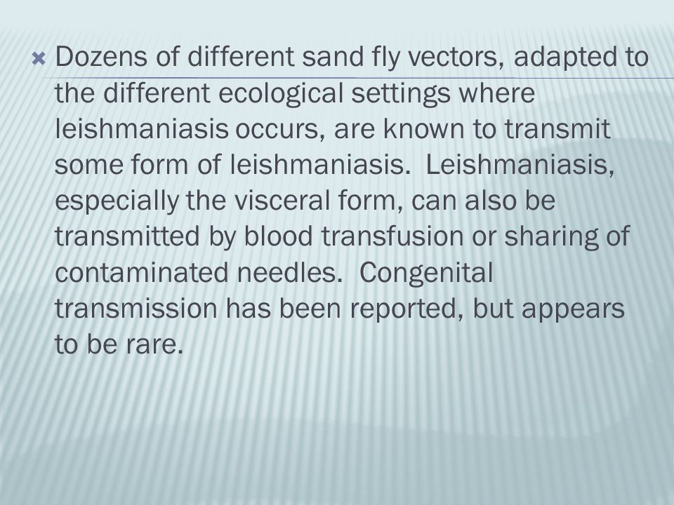 Dozens of different sand fly vectors, adapted to the different ecological settings where leishmaniasis occurs, are known to transmit some form of leishmaniasis.