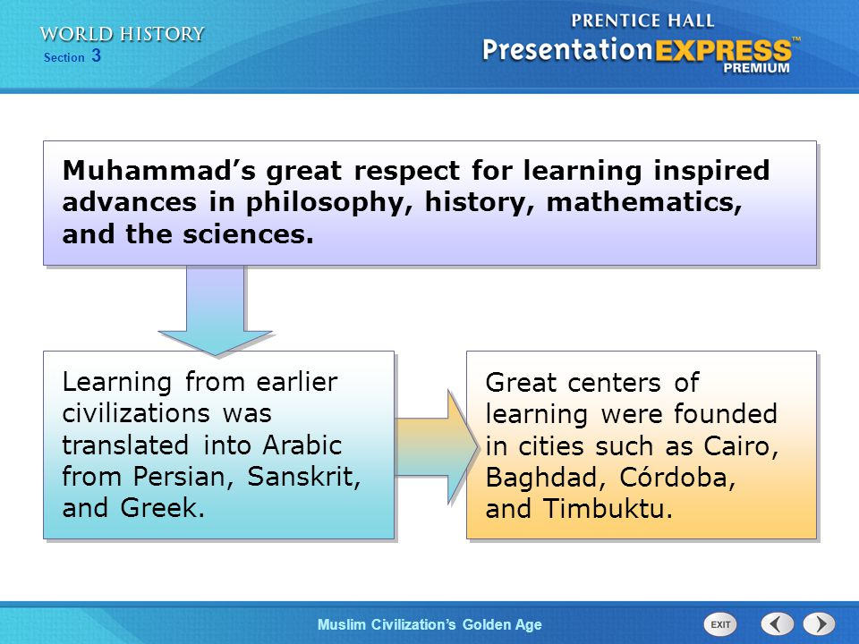 Muhammad's great respect for learning inspired advances in philosophy, history, mathematics, and the sciences.