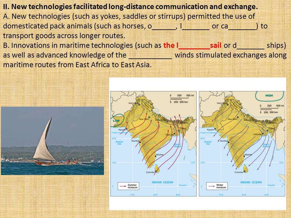 II. New technologies facilitated long-distance communication and exchange.