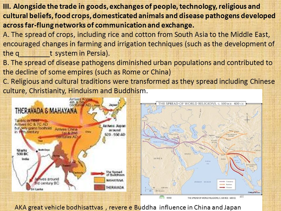 III. Alongside the trade in goods, exchanges of people, technology, religious and cultural beliefs, food crops, domesticated animals and disease pathogens developed across far-flung networks of communication and exchange.
