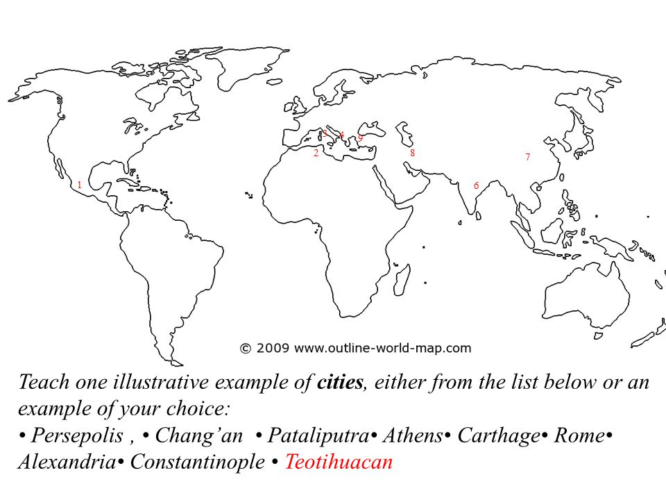 3 4. 9. 2. 8. 7. 1. 6. Teach one illustrative example of cities, either from the list below or an example of your choice: