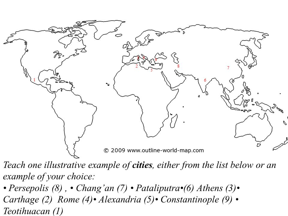 3 4. 9. 2. 8. 7. 5. 1. 6. Teach one illustrative example of cities, either from the list below or an example of your choice:
